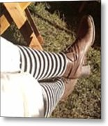 Black And Gray Stockings Metal Print