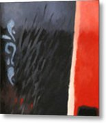 Black And Red Composition Metal Print