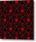 Black And Red Hearts Metal Print