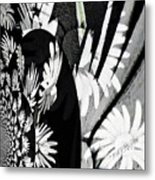 Black And White Abstract Floral Metal Print