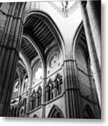 Black And White Almudena Cathedral Interior In Madrid Metal Print