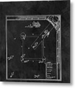 Black And White Baseball Game Patent Metal Print