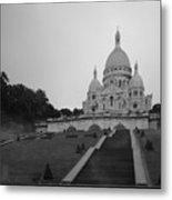 Basilique Du Sacre Coeur In Pre Dawn Paris Bw Metal Print