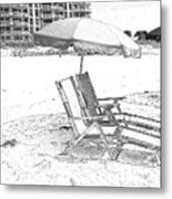 Black And White Beach Chairs Metal Print