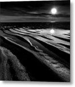 Black And White Beach - Low Tide Metal Print