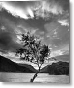 Black And White Beautiful Landscape Image Of Llyn Padarn At Sunr Metal Print