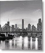 Black And White Brisbane Landscape Metal Print