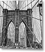 Black And White Brooklyn Bridge Metal Print