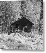 Black And White Cabin Metal Print