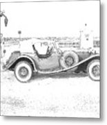 Black And White Car Metal Print