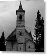 Black And White Church In Williston North Dakota. Metal Print