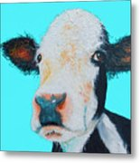 Black And White Cow On Blue Background Metal Print