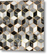 Black And White Cubes Metal Print
