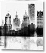 Black And White Detroit Metal Print