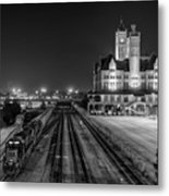 Black And White Fine Art Print Of Union Station In Nashville, Tennessee Metal Print