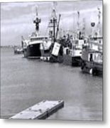 Black And White Fishing Boats On The Dock Metal Print