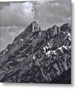 Black And White Grand Teton Detail Metal Print