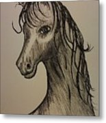 Black And White Horse Metal Print