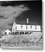 Black And White Image Of A House In New England In Infrared Metal Print