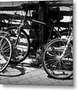 Black And White Leaning Bikes Metal Print