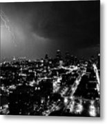 Black And White Lighting Over Kansas City Metal Print