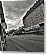 Black And White Lonely Road Metal Print