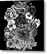 Black And White Love Bouquet Metal Print