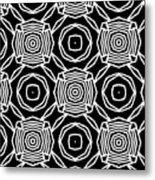 Black And White Modern Roses- Pattern Art By Linda Woods Metal Print