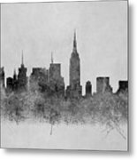 Black And White New York Skylines Splashes And Reflections Metal Print