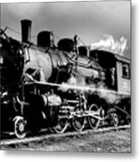 Black And White Of An Old Steam Engine  Metal Print