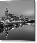 Black And White Of Nashville Tennessee Skyline Sunrise  Metal Print