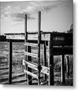 Black And White Old Time Dock Metal Print