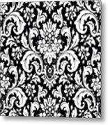 Black And White Paisley Pattern Vintage Metal Print