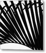 Black And White Palm Branch Metal Print