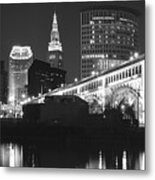 Black And White Panorama Of Cleveland Metal Print