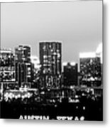 Black And White Panoramic View Of Downtown Austin Metal Print