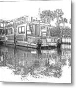 Black And White Party Boat Metal Print
