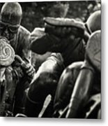 Black And White Photography - Motorcyclists Metal Print