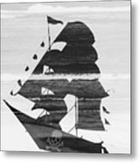 Black And White Pirate Ship Against The Sea And Crushing Waves. Double Exposure Metal Print