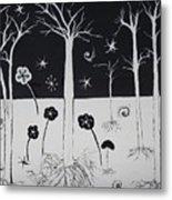 Black And White Poppies Metal Print