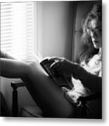 Black And White Portrait Of A Sexy Woman In Large Reading Glasse Metal Print