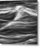 Black And White River Water Abstract  Metal Print