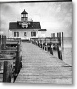 Black And White  Roanoke Lighthouse Metal Print