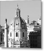 Black And White Rooftop In Rome Metal Print