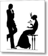 Black And White Silhouette Of A Man Giving A Woman A Flower Metal Print
