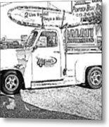 Black And White Sketch Truck Metal Print