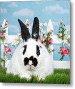 Black And White Spring Bunny Metal Print
