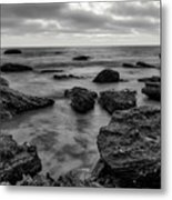 Black And White Sunset At Low Tide Metal Print