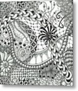 Black And White Tangle Art Metal Print
