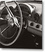 Black And White Thunderbird Steering Wheel And Dash Metal Print